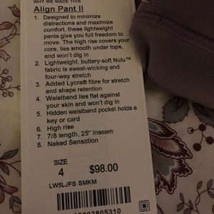 lululemon athletica Pants - NWT smoked mulberry align